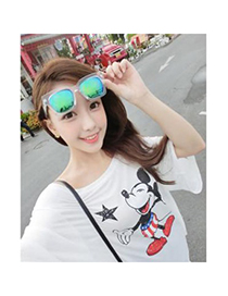 Noble transparent white&blue big frame Blue lens simple design