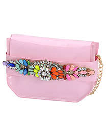 Dickie pink gemstone decorated simple design pu leather Messenger bags