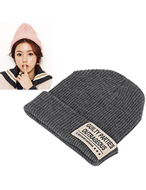 Ethnic gray letters decorated hedging design wool Knitting Wool Hats