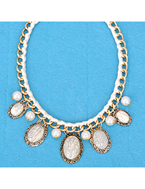 Local beige gemstone decorated oval shap design alloy Korean Necklaces