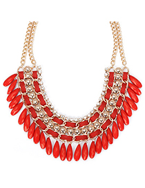 Patagonia red diamond decorated tassel design alloy Fashion Necklaces