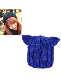 Mustard sapphire blue little ears decorated simple design wool Knitting Wool Hats