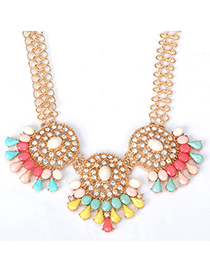 Chiropract multicolor diamond decorated hollow out design alloy Fashion Necklaces