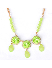 Fine green flower decorated simple design alloy Korean Necklaces