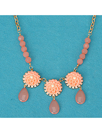 Scrapbooki pink flower decorated simple design alloy Korean Necklaces