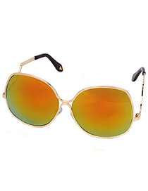 Standard Gold Color Reflective Flame Simple Design Alloy Women Sunglasses