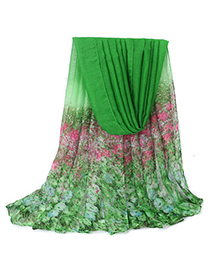 Initial Green Flower Decorated Gradient Design Voile Thin Scaves