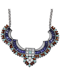 Square Blue Diamond Decorated Geometrical Shape Design Alloy Fashion Necklaces