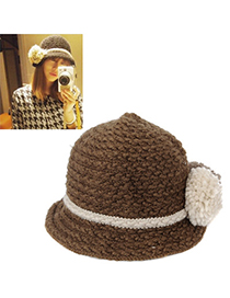 Velvet Brown Big Ball Decorated Simple Design Wool Knitting Wool Hats