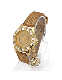 Rubber Gold Color Diamond Decorated Swan Shape Design Alloy Ladies Watches