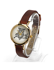 Coral Dark Brown Owl Pattern Decorated Simple Design Alloy Ladies Watches
