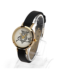 Carters Black Owl Pattern Decorated Simple Design Alloy Ladies Watches
