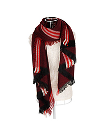 Elastic Claret-red Fine Twill Decorated Simple Design Woolen knitting Wool Scaves