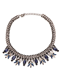 High Blue Gemstone Decorated Leaf Pendant Design Alloy Fashion Necklaces