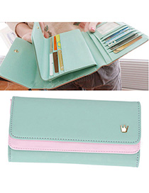 Tapered Light Blue Crown Decorated Simple Design Leather Wallet