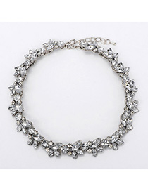 Friendly Silver Color Diamond Decorated Butterfly Shape Design Alloy Bib Necklaces