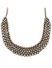 Handmade Antique Gold Diamond Decorated Simple Design Alloy Fashion Necklaces