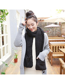 Hemming Black Pure Color Simple Design Wool knitting Wool Scaves