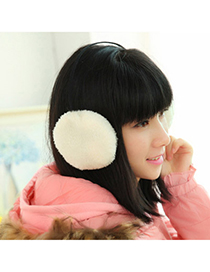 Colorful White Pure Color Simple Design Wool Fashion Earmuffs