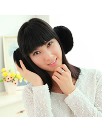 Imitation Black Pure Color Simple Design Wool Fashion earmuffs