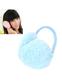Lucky Light Blue Pure Color Simple Design Wool Fashion Earmuffs