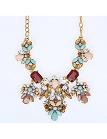 Charming Pink & Green Gemstone Decorated Waterdrop Shape Design