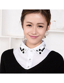 Lined White Beads Decorated Shirt Shape Design Cotton Detachable Collars