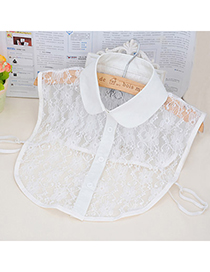 Nautical White Flower Embroideried Decorated Lace Design Cotton Detachable Collars