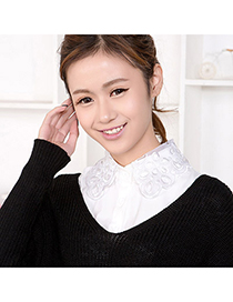 Dash White Pure Color Hollow Out Design Cotton Detachable Collars