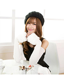 Pagan White Imitation Cashmere Decorated False Sleeves Deisgn Cashmere Fingerless Gloves