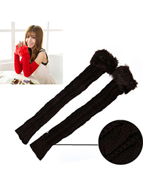 Inexpensiv Dark Brown Imitation Cashmere Decorated False Sleeves Deisgn Cashmere Fingerless Gloves