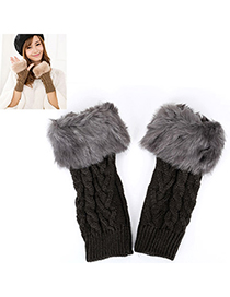 Fishing Dark Gray Imitation Cashmere Decorated Fingerless Design