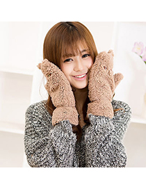 Expensive Camel Lovely Cat Pattern Simple Design Wool Full Finger Gloves