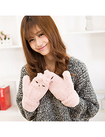 Polaris Pink Lovely Cat Pattern Simple Design Wool Full Finger Gloves