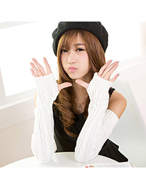 Crinkle White Pure Color Twist False Sleeves Simple Design Cashmere Fingerless Gloves
