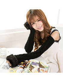 Cute Black Imitation Cashmere Decorated False Sleeves Deisgn Cashmere Fingerless Gloves