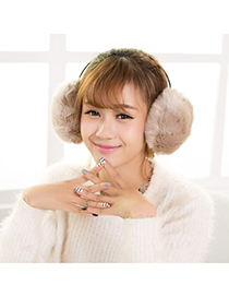 Stylish Apricot Pure Color Small Hoop Simple Design Pp Cotton Fashion Earmuffs