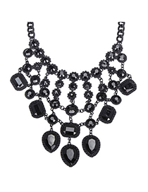 Indian Black Gemstone Decorated Waterdrop Shape Design Alloy Bib Necklaces