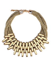 Skinny Gold Color Metal Stitching Decorated Multilayer Design Alloy Bib Necklaces