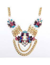 Petite White & Purple Gemstone Decorated Waterdrop Shape Design Alloy Fashion Necklaces