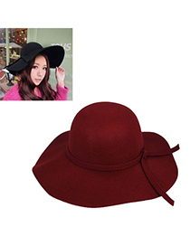 Disposable Dark Red Pure Color Tie Simple Design Woolen Beanies Others