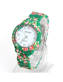 Portable Green Rose Pattern Decorated Simple Design Alloy Ladies Watches