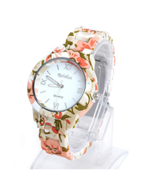 Collar Multicolor Large Flower Pattern Decorated Simple Design Alloy Ladies Watches