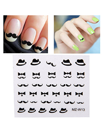 Standard Black & White Diy Moustache Pattern Simple Design Stickers Nails