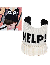 Venetian White Letter Help Decorated Simple Design Wool Knitting Wool Hats