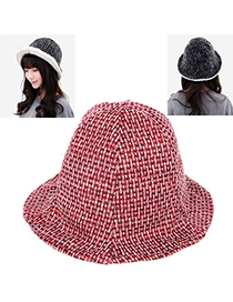 Active Red Grid Simple Design Wool Knitting Wool Hats