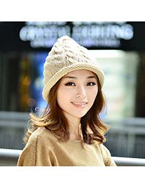 Buckle Beige Pure Color Twist Simple Design Wool Knitting Wool Hats