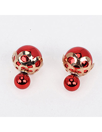 Dancing Red Round Shape Decorated Hollow Out Design Alloy Stud Earrings