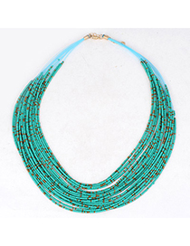 Diabetic Green Beads Decorated Multilayer Design Alloy Korean Necklaces
