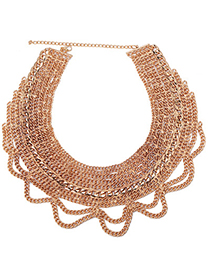 Diy Gold Color Chain Decorated Multilayer Design Alloy Fashion Necklaces